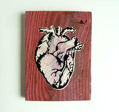Red Anatomical Heart Art Block - Wood, Paint, Crayon Scribbles, and Vinyl - Kid Art - Found Art - Medical Office Decor - Biology Art - Heart by eightyacresart on Etsy Kid Art, Art For Kids, Oak Leaf Tattoos, Medical Office Decor, Gas Money, Biology Art, Anatomical Heart, Found Art, Heart Art