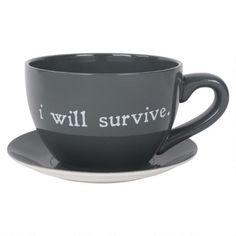 I Will Survive Teacup Planter Grey