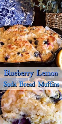 Blueberry Lemon Soda Bread Muffins are an enthusiastic nod to traditional Irish Soda Bread. They're a subtly sweet, moist, and light breakfast muffin with a tender crumb. Loaded with blueberries and lemon zest, topped with a fresh lemon glaze. Mini Desserts, Irish Desserts, Irish Recipes, Irish Soda Bread Recipes, Moist Irish Soda Bread Recipe, Banana Bread Recipes, Muffin Recipes, Breakfast Recipes, Dessert Recipes
