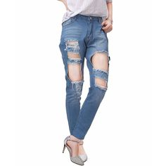 Women's High Waist Stretch Skinny Denim Pants Ripped Distressed Jeans