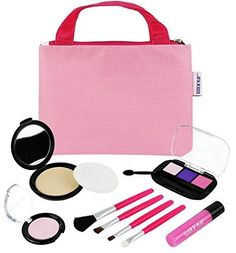 Click N' Play Pretend Play Cosmetic and Makeup Set with Pink Tote Bag