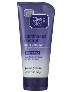 Clean & Clear Continuous Control Acne Cleanser THE BEST facewash ever.  In 2 weeks, my acne was almost completely gone, thanks to this & epiduo. But im sure you can get away without the epiduo. ~Y