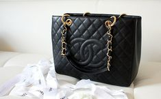 black chanel tote.