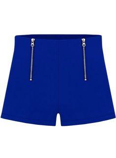 Blue Double Zipper Straight Shorts - Sheinside.com