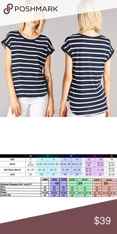 NWT STRIPE NAVY TOP 50% polyester, 50% rayon Navy & white Tops Tees - Short Sleeve