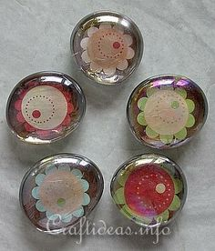 Glass Nuggets and Scrapbook Papier Refrigerator Magnets