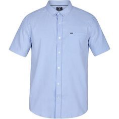 Hurley Men's Dri-FIT One & Only Button Down Short Sleeve Shirt, Size: Medium, Blue