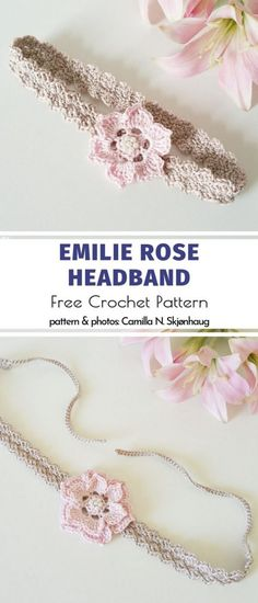 Emilie Rose Headband Free Crochet Pattern When it comes to creating a perfect outfit for a little princess, headdress is a must-have cherry on top - often quite literally! Crochet Flower Headbands, Crochet Headband Pattern, Diy Headband, Crochet Patterns, Rose Headband, Beanie Pattern, Hat Patterns, Baby Girl Crochet, Crochet Baby Clothes
