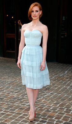 Jessica Chastain, con un vestido azul