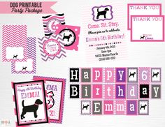 Pink Purple Black Lab Dog Birthday Party Package by printpopparty