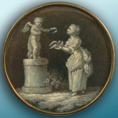 #ButtonArtMuseum.com - 18th C. Painting on Silk button.