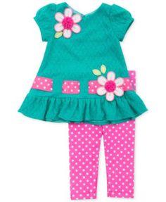 Rare Editions Little Girls' 2-Piece Teal Textured Knit Top & Bright Pink Dot Leggings Set