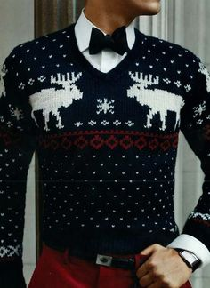 Classic Fair Isle patterned sweater, red pants and a bow tie...holiday-ready for sure!