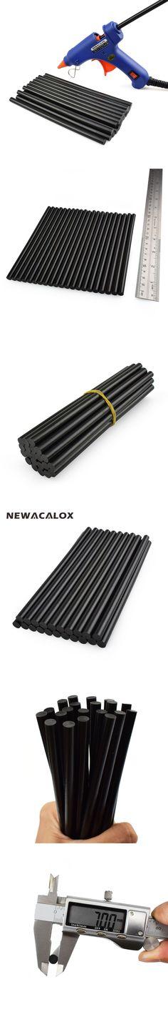 NEWACALOX DIY Tools Gun Adhesive Alloy Accessories Repair 20 pcs/lot Black Hot Melt Glue Sticks 7mm 150mm