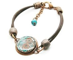 Orgone Energy Leather Friendship Bracelet in Antique Copper Finish with Turquoise. Positive Life Force Energy. EMF Protection. Colorful, Handcrafted, Artisan Jewelry. Quartz Crystal. Positive Ki, Prana, Life Force - Orgone.