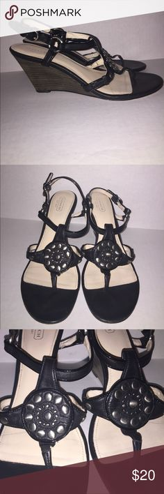 """Coach """"Harper"""" Black Wedges Size 9M Coach """"Harper"""" Black Wedges Size 9M.  These shoes are in good condition with minimal wear.  Please request additional images/information if needed.  Thanks for viewing!! Coach Shoes Wedges"""