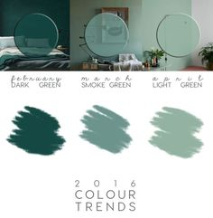 Green interior trend: try these 4 new greens in 2020 / green wall paint, dark green wall decor and green interior inspirations on ITALIANBARK Green Wall Color, Green Paint Colors, Wall Paint Colors, Green Painted Walls, Dark Green Walls, Bedroom Green, Green Rooms, Trends 2016, Trending Paint Colors