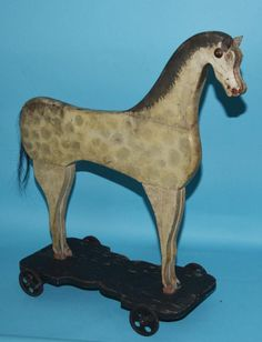 Wonderful Folk Art Painted Wood Horse