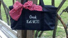 Need a gift for a bridal shower?  Personalize one of our Large Utility Totes with the couples last name and year they are married.