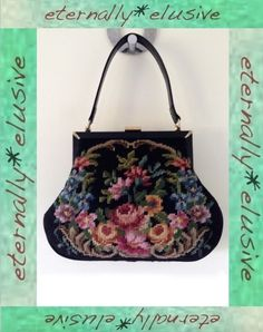Original 1940s WW2 Vintage Tapestry Needlepoint Bag Framed Handbag Women Ladies