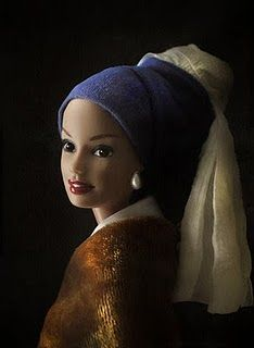 "Barbie in Art. Mariel Clayton, after Vermeer's ""Girl with a Pearl Earring"" from c. 1665"
