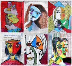 Mixed media portraits by Picasso The style of Picasso portraits is unmistakable: the figures fall apart and are recomposed in his paintings, overturning all the canons and the proportions of the face in the style of Cubism. Kunst Picasso, Art Picasso, Picasso Style, Portraits Cubistes, Cubist Portraits, Portrait Art, Fall Art Projects, School Art Projects, 7th Grade Art