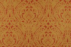 Upholstery Fabric Damask Fabric Rust Background with Gold Damask Fabric