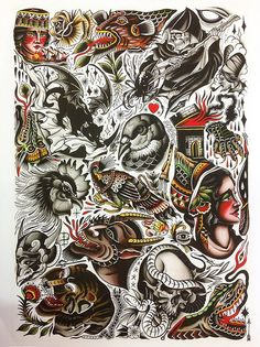 James McKenna Pari Corbitt Split Tattoo Art Print