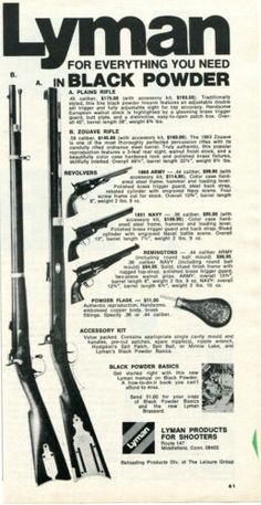 1973 Print Ad of Lyman Black Powder Plains & Zouave Rifle 1860 Army 1851 Navy Reloading Dies, Hard To Find, Print Ads, Vintage Advertisements, Vintage Prints, Printer, Advertising, Army, Hunting