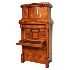 Northern European Birch Secretaire Abattant | From a unique collection of antique and modern secretaires at https://www.1stdibs.com/furniture/storage-case-pieces/secretaires/