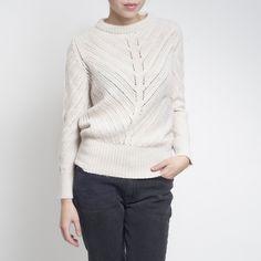 Beige Round Neck Pullover by Aiayu