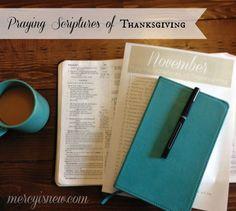 Praying Scriptures of Thanksgiving {Free Printable} Join me in November for #prayingthescriptures of Thanksgiving! #thanksgiving #prayer