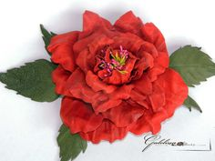 Leather  red rose  pin brooch hair hat clip.Corsage by Galelina, $52.00