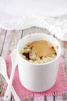 This Peanut Butter & Oatmeal Mug Cake for Two is a simple and fast fix for dessert or breakfast!