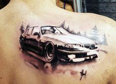 BMW Car Men's Tattoo On Back Of Shoulder