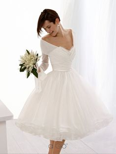 Wedding, Reception dress or rehearsal dress.maybe without sleeves Tea Length Wedding Dress, Long Sleeve Wedding, White Wedding Dresses, Bridal Dresses, Wedding Gowns, Flower Girl Dresses, Wedding Reception, Beautiful Dresses, Marie