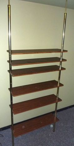 Mid Century Lighted Room Divider With Tension Poles And