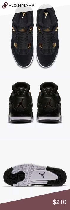 2dcd9982751 Air Jordan Retro Royalty Black Gold Suede Nike Air Jordan 4 Retro Royalty  Black Suede Metallic