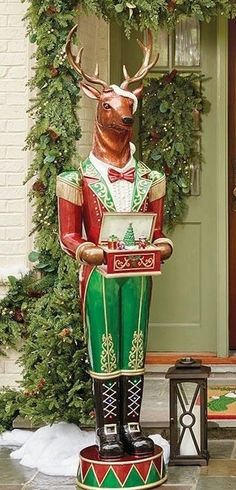 Standing nearly 7 feet tall, our Stag Nutcracker makes a statement in any holiday display. Colorful LED lights on his detailed uniform and hand-held music box light up, while a Christmas tree rotates along to eight preloaded holiday songs.