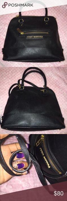Juicy Couture Black Leather Bowler Bag Pretty fair condition for being used frequently. Should strap attached. Ink marks on inside:( NOT TOO BAD. Juicy Couture Bags Shoulder Bags