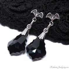 Sterling Silver Bats with Crystals