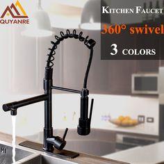 Chrome  Black Spring Pull Down Kitchen Faucet Dual Spouts 360 Swivel Handheld Shower Kitchen Mixer Tap Hot Cold 2 Outlet Taps