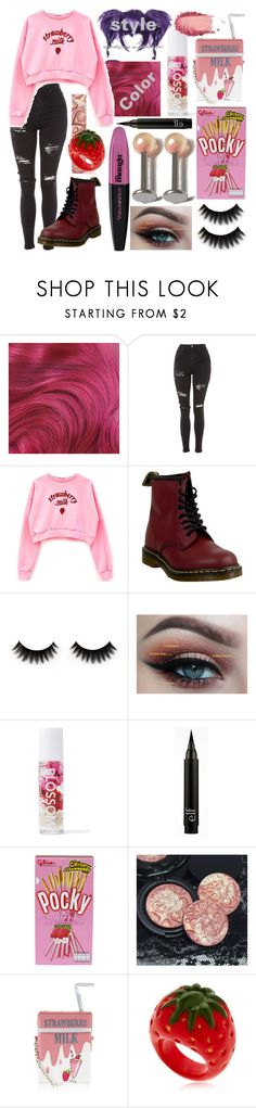 """""""Strawberry Milk"""" by dappershadow ❤ liked on Polyvore featuring L'Oréal Paris, Topshop, Dr. Martens, Blossom, Accessorize, Nach and SkinCare"""