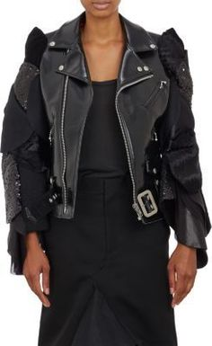 $1,850, Junya Watanabe Comme Des Garons Mixed Fabric Sleeves Biker Jacket by Comme des Garcons. Sold by Barneys New York. Click for more info: http://lookastic.com/women/shop_items/138826/redirect