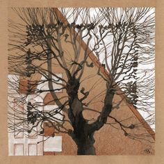 Watercolour drawing of an interesting tree in front of a building