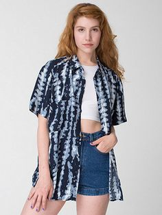 Unisex Printed Rayon Challis Short-Sleeve Button-Up Shirt by #AmericanApparel comes in 12 colors! #summerprint