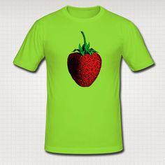 Mens Light Green Strawberry Print Slim Fit Cotton T by WinkinBitsy