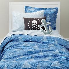 The Land of Nod | Kids' Bedding: Blue Pirate Nautical Kids' Bedding Duvet Cover in Duvet Covers