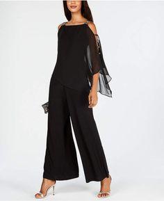 Msk Embellished Chiffon-Overlay Jumpsuit - Black S Lace Jumpsuit, Jumpsuit With Sleeves, Embellished Jumpsuit, Formal Jumpsuit, Romper Suit, Lace Pants, Strapless Jumpsuit, Chiffon, Modelos Plus Size