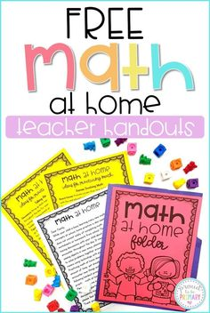 A teacher's guide to encouraging families to take part in teaching math at home. Tons of fun ideas for kids are included, such as educational math apps, ideas for math talks and play, and a FREE printable math folder, parent letter, and list of home math practice ideas. #mathforkids #teacherfreebie #teachingmath #mathactivitiesforkids